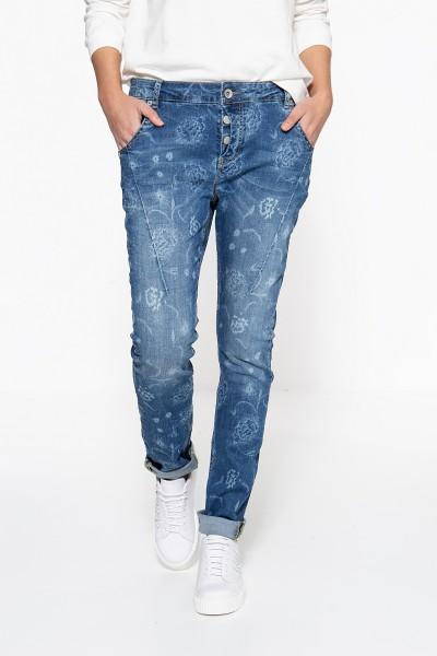 ATT JEANS Boy Fit Jeans »Gwen« mit floralem Muster und Crinkle Look Gwen