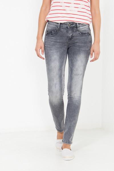 ATT JEANS Used Slim Fit Jeans mit Pailletten Münztasche Zoe