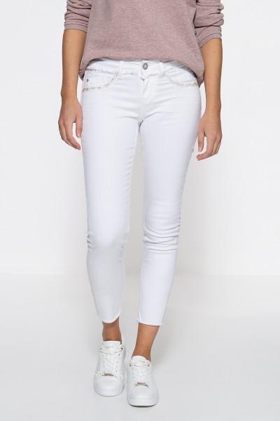 ATT JEANS Slim Fit Jeans mit bestickten Zier-Eingrifftaschen und offenen Saumkanten Leoni