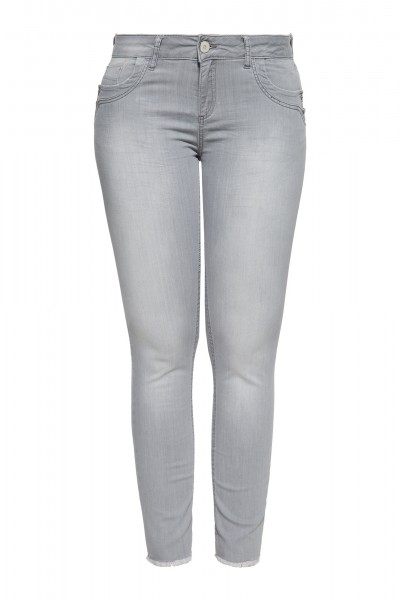Slim Fit Jeans mit offenen Kanten am Saum »Leoni«