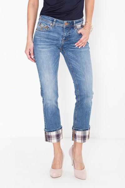 ATT JEANS Straight Cut Jeans mit Aufschlag und Karobesatz Stella