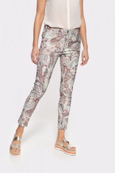 High Waist Slim Fit Jeans mit auffälligem Paisley-Muster »Ruby«