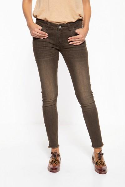 5-Pocket Jeans mit Waschungen und offenen Saumkanten »Leonie«