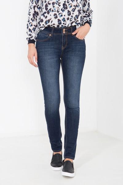 ATT JEANS Slim Fit Jeans mit breitem Bund und Metallknöpfen Chloe