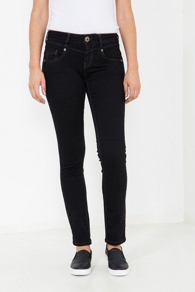 ATT JEANS Basic Slim Fit Jeans mit Zierknopf Zoe