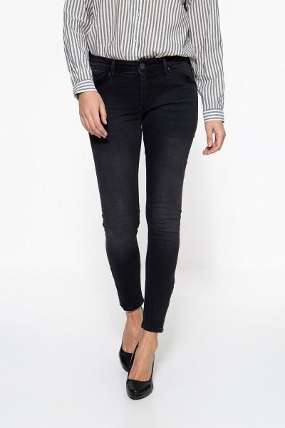 ATT JEANS Slim Fit Jeans mit Pailletteneinsatz und Reißverschluss am Saum Carron