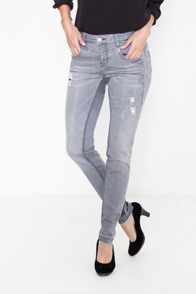 ATT JEANS Slim Fit Jeans mit Pailletten und Destroy Details Zoe