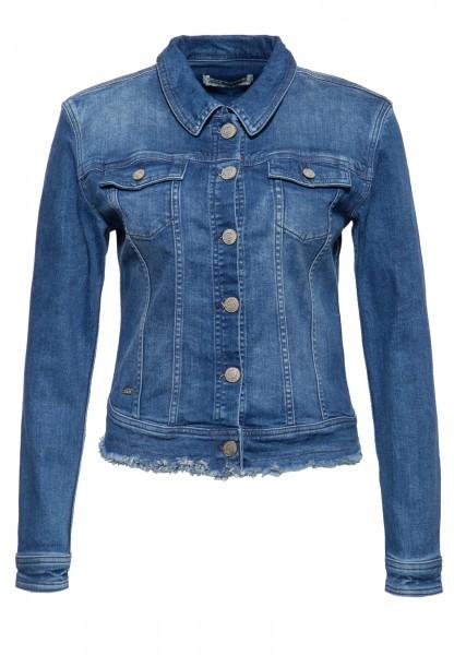 ATT JEANS Damen Jeansjacke mit Waschungen und offener Saumkante »Alicia«