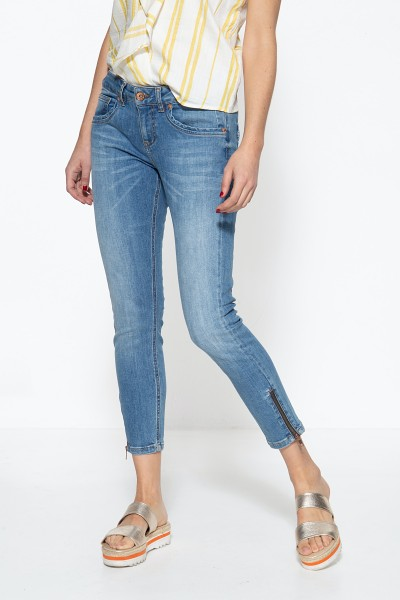 5-Pocket Jeans mit Reißverschlüssen an den Säumen und legeren Waschungen Leoni