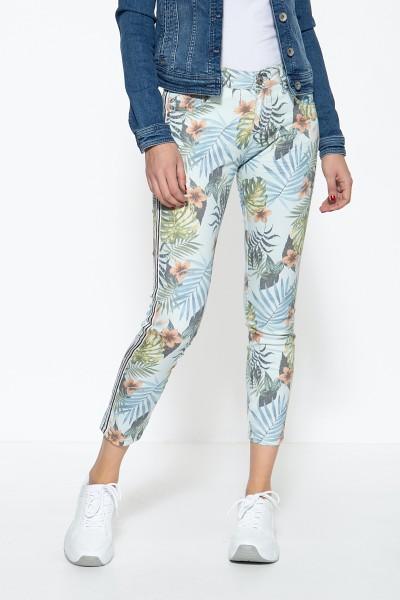 ATT JEANS Damen 5-Pocket Jeans mit floralem Muster und seitlichen Glitzerstreifen Leoni